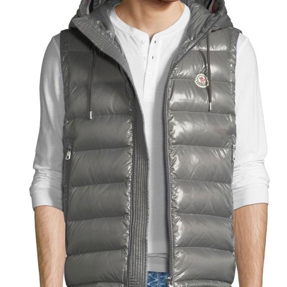 0c1d433c2 Men's Moncler lanoux hooded puffer vest grey xxl